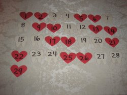 29 Laminated Heart and Tooth Calendar Pocket Chart Pieces for February