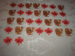 31 Laminated Leaf and Turkey Calendar Pocket Chart Pieces for November