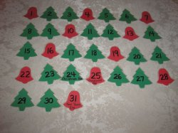 31 Laminated Bell and Christmas Tree Calendar Pocket Chart Pieces for December
