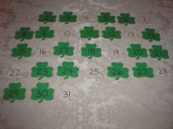 31 Laminated Shamrock and Rabbit Calendar Pocket Chart Pieces for March