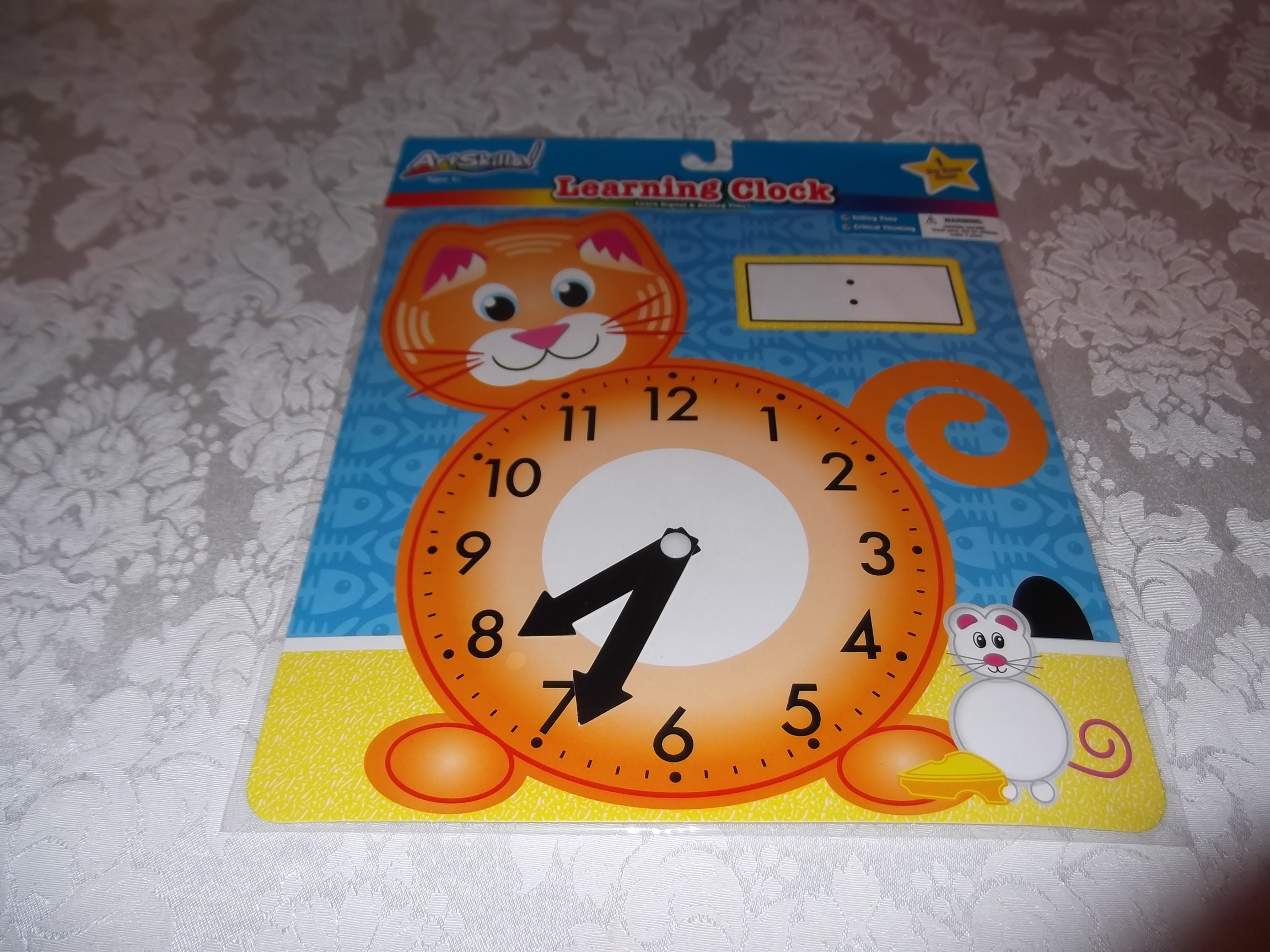 Cat Dry Erase Learning Clock Telling Time Movable Hands Artskills New Sealed
