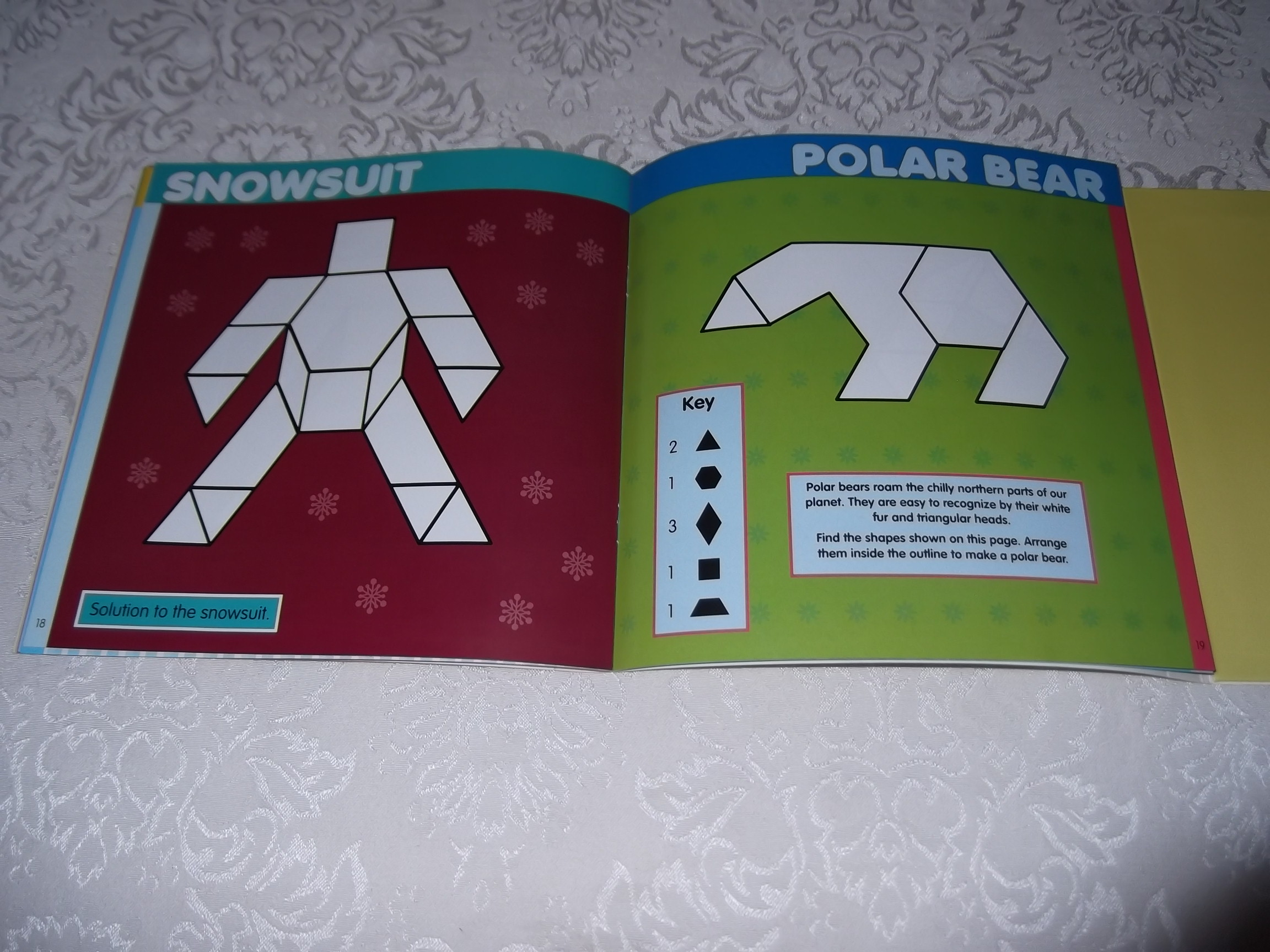 Image 8 of Pattern Block Puzzles Christmas with 42 Magnet Shapes Kris Hirschmann Brand New