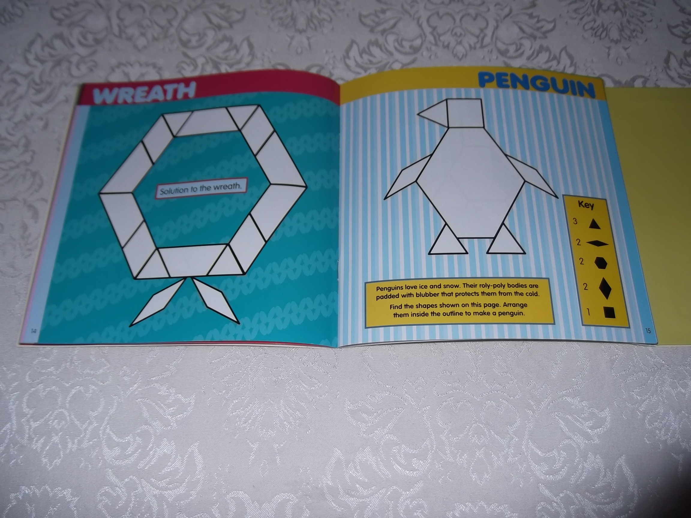 Image 10 of Pattern Block Puzzles Christmas with 42 Magnet Shapes Kris Hirschmann Brand New