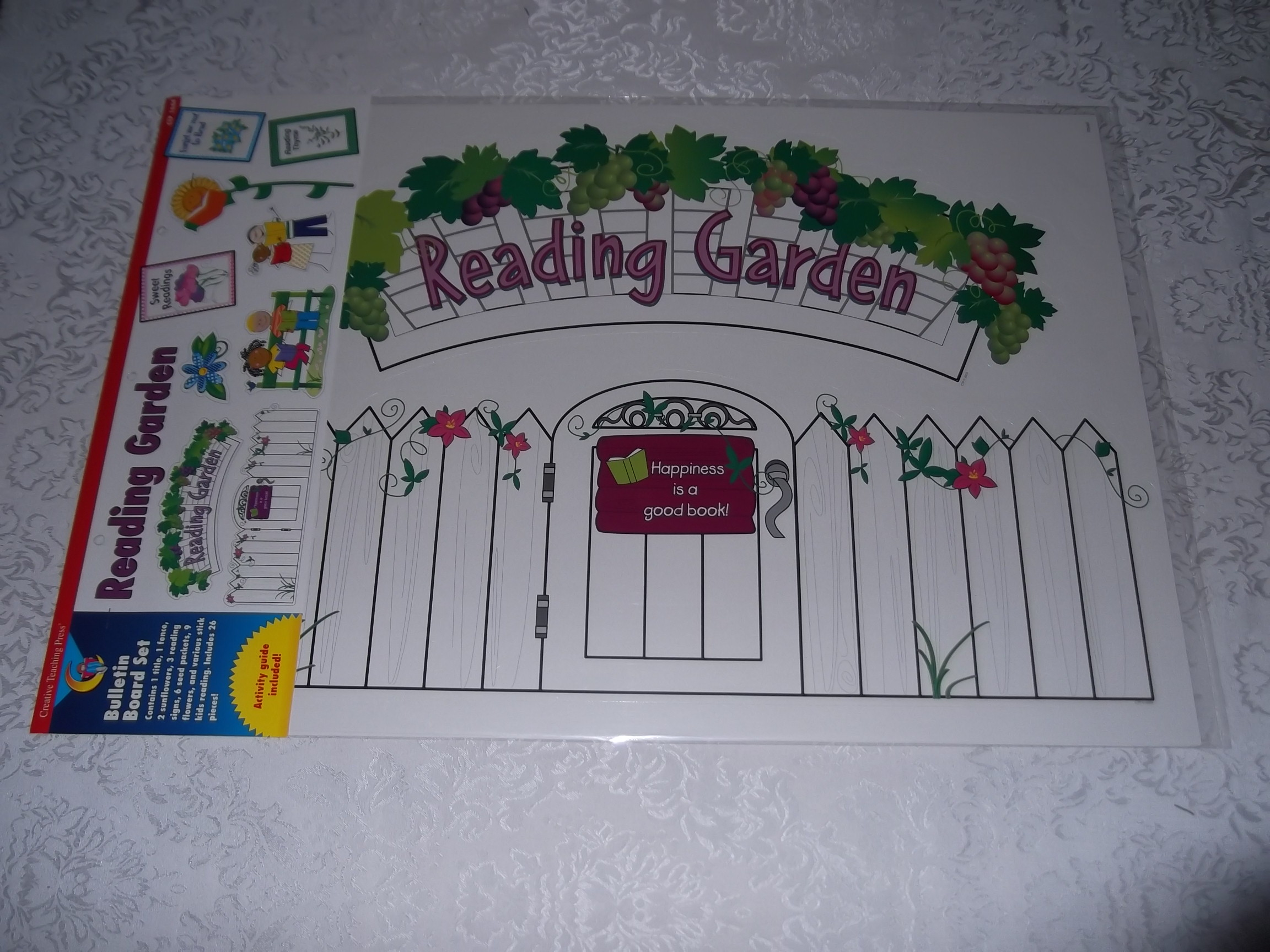 Bulletin Board Set with 26 Pieces Reading Garden CTP 1644 Literacy Theme