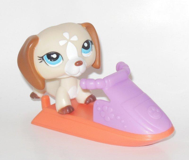 Littlest Pet Shop Dachshund Puppy Wiener Dog Flower Jet Ski Toy 1491