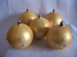 Vintage Austrian Elegant Large Christmas Ornaments Lot of 5