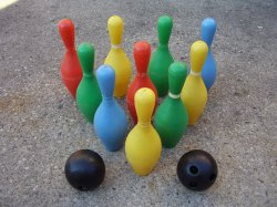 Childrens Vintage Heavy Plastic Bowling Pins and Balls