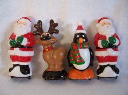 Santa Reindeer Penguin Pathway Light Toppers Christmas General Foam Lot of 4