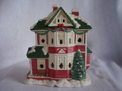 Mervyns Village Square Christmas Village Lighted Victorian House Porcelain