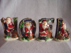 Christmas Noel Santa Candle Set of 4