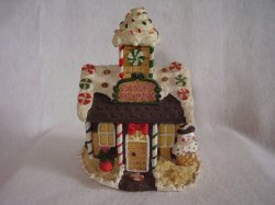 Christmas Village Building Candy Shoppe House Display Resin
