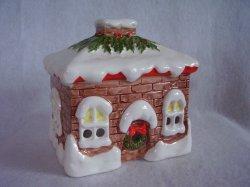 Christmas House Tea Light Votive Candle Holder Ceramic