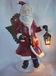 Large Ceramic Father Christmas Santa Statue Figure Lighted Lantern 20 In Tall