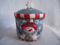 Christmas Cookie or Treat Jar It's Snow Time Snowman Snowflakes