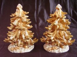 Gold Glitter Resin Christmas Trees Lot of 2 Christmas Village or Tabletop