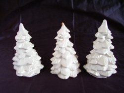Small White Christmas Trees Lot of 3 Christmas Village or Table Top