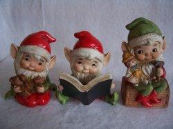 HOMCO Santa Elves 5406 Lot of 3 Holiday Christmas Figurines