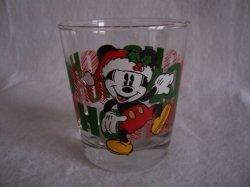Santa Mickey Mouse Ho Ho Ho Drinking Glass Tumbler Anchor Hocking