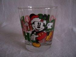 Santa Mickey Mouse Ho Ho Ho Drinking Glass Tumbler Anchor Hocking