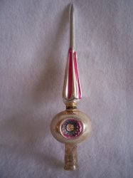 Triple Indent Mercury Glass Christmas Tree Topper Vintage