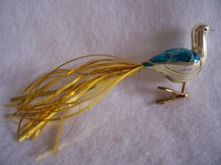 Vintage German Gold Tinsel Tail Glass Bird Clip On Christmas Ornament