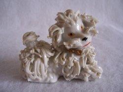 Vintage Spaghetti White Poodle Dog Figurine 50s