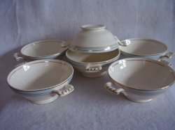 Knowles Blue Border Gold Stripe Lugged Soup Bowl Vintage Lot of 6