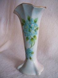 Hand Painted Forget Me Nots Porcelain Bud Vase Vintage