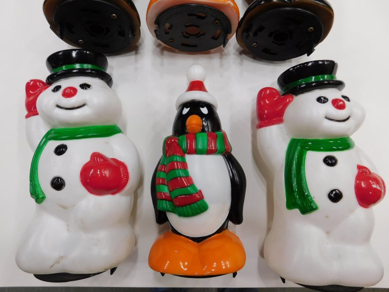 Image 1 of Snowman Reindeer Penguin Pathway Light Toppers Christmas General Foam Lot of 6
