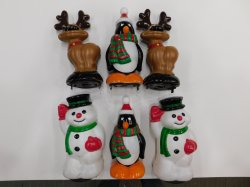 Snowman Reindeer Penguin Pathway Light Toppers Christmas General Foam Lot of 6