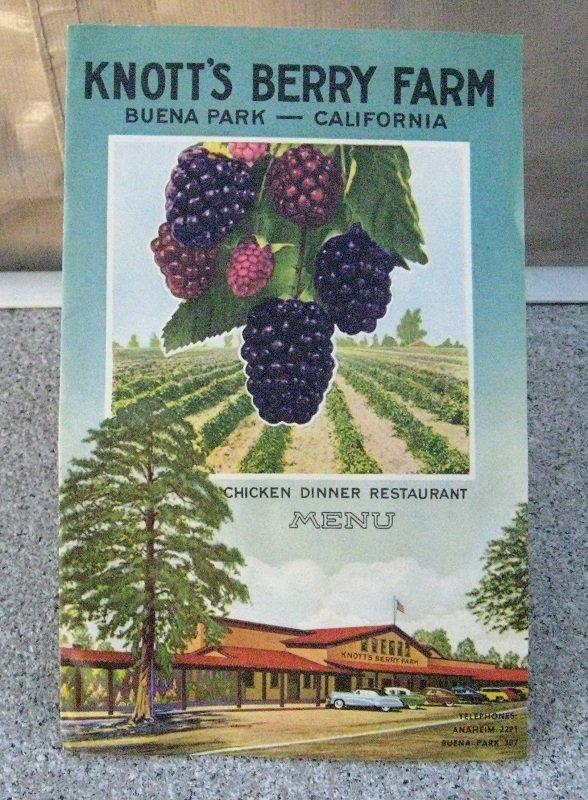 Knott's Berry Farm Chicken Dinner Restaurant 1951 Menu Brochure