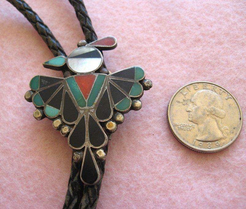 Zuni Inlaid Thunderbird Bolo Tie 1940s Or Earlier New Mexico