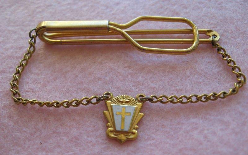 Vintage 1940s Goldtone Tie Bar, Religious or Nurse Theme. Indiana School or Nursing