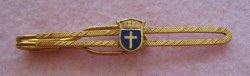 Nurse Themed Tie Bar with Cross, Religious Vintage Goldtone