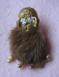 Mink Covered Poodle Pin, Marked JJ, Jonette Vintage 1950s