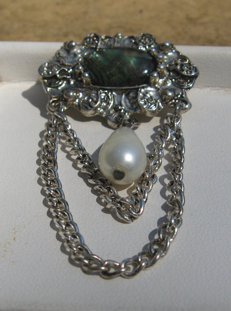 Abalone M.O.P. and Faux Pearl Silver Tone Dangle Pin Brooch