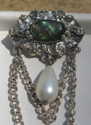 '.Abalone, MOP, Faux Pearl Pin.'