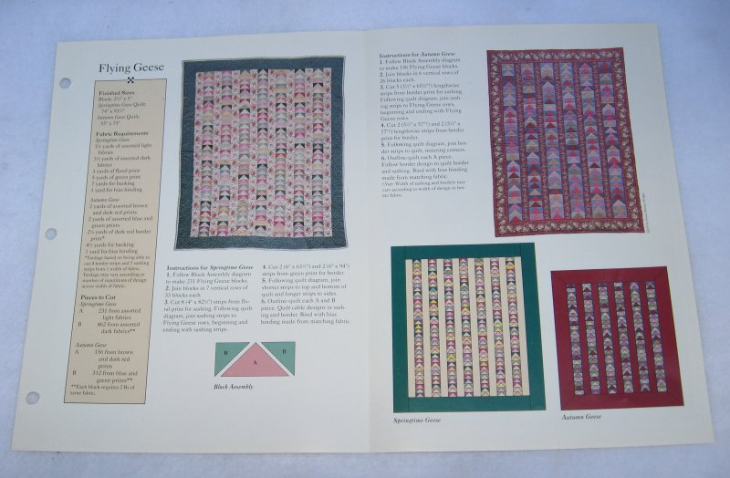 Flying Geese, Unused Quilt Pattern and Actual Size Templates