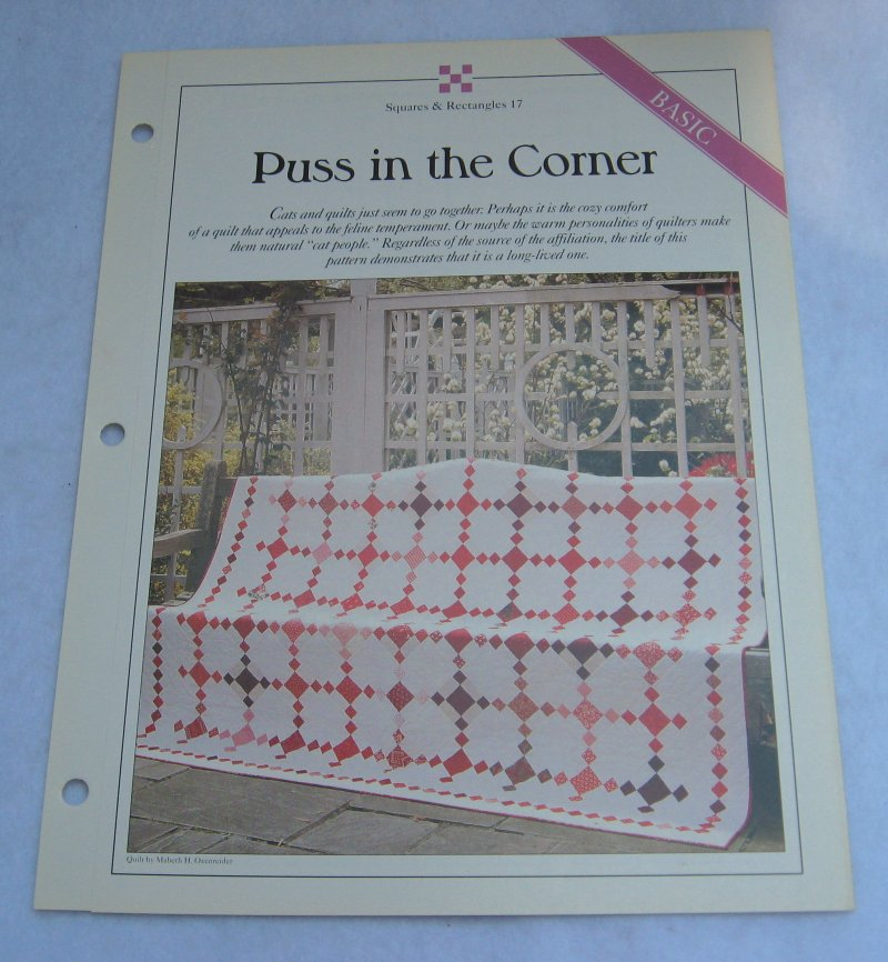 Puss in the corner, Quilt Pattern with Actual Size Templates