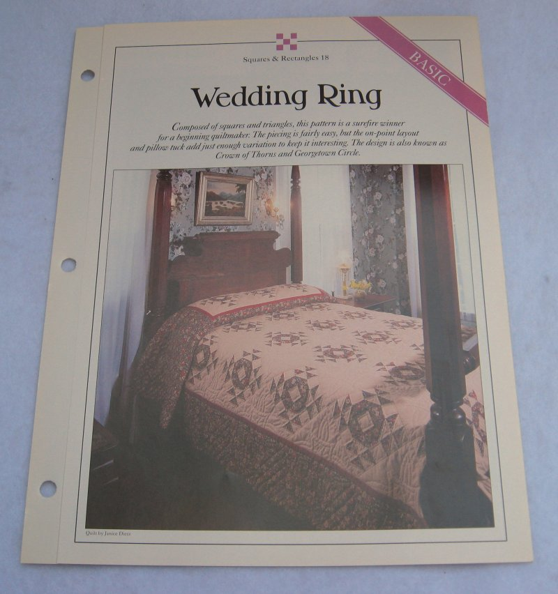 Wedding Ring, Quilt Pattern with Actual Size Templates