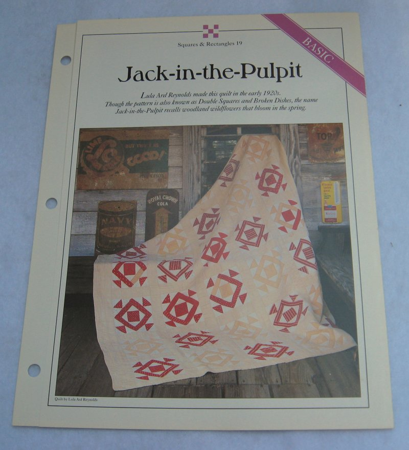 Jack in the Pulpit, Quilt Pattern with Actual Size Templates