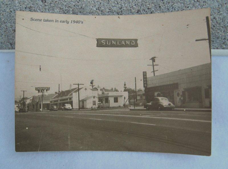 1940s Street Scene of Sunland California, Real Photo Postcard