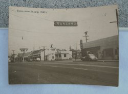 Sunland California Real Photo Postcard, 1940s Street Scene