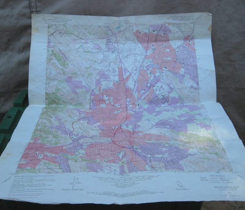1968 Walnut Creek California Quadrangle Wall Map, 22x27 inch