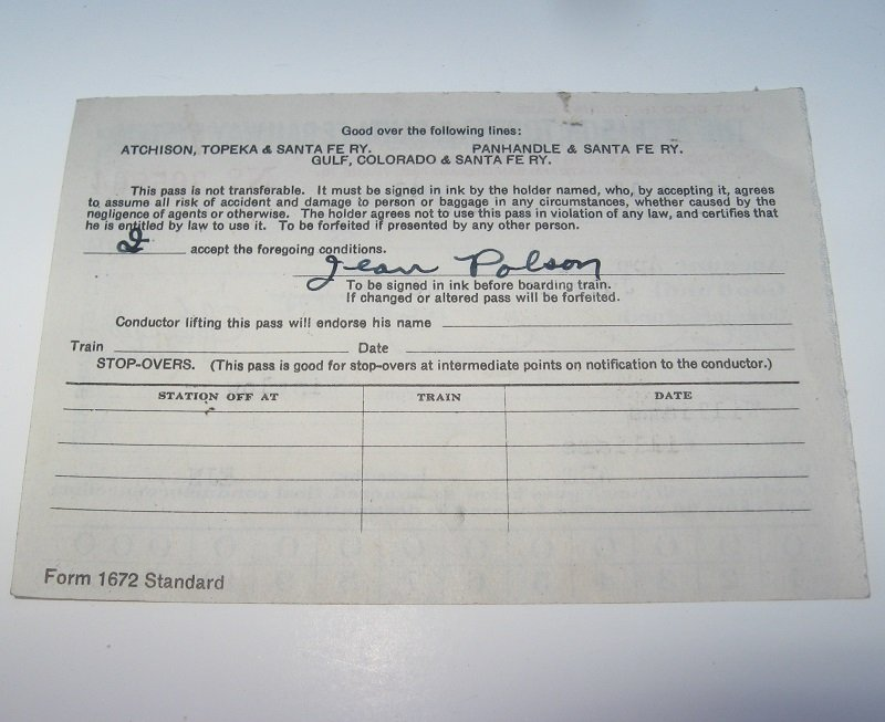 AT&SF Railway Ticket Pass. Dated 1943. Jean Polson. Arizona destinations