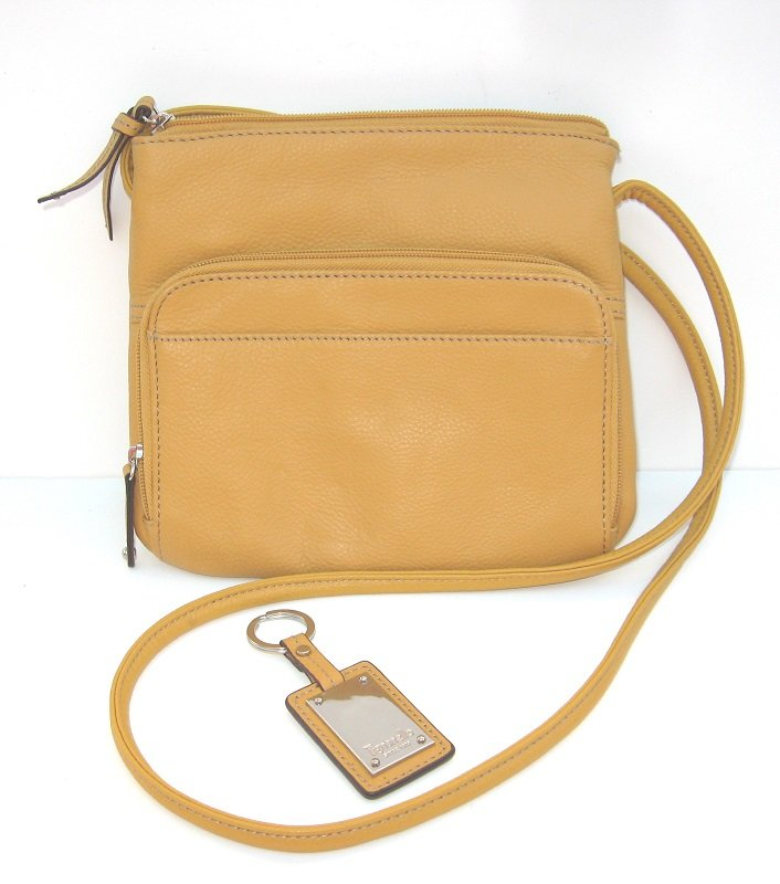 Tignanello Pebble Leather Zip Top Crossbody Bag Glove