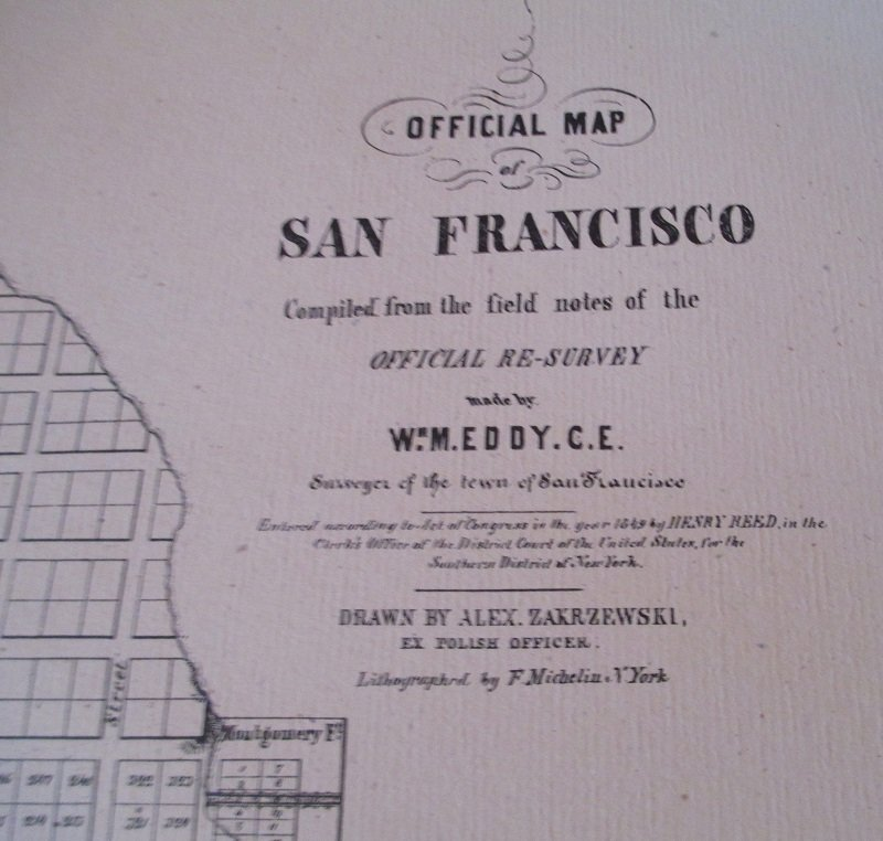 1972 Reprint of 1849 Map of San Francisco California
