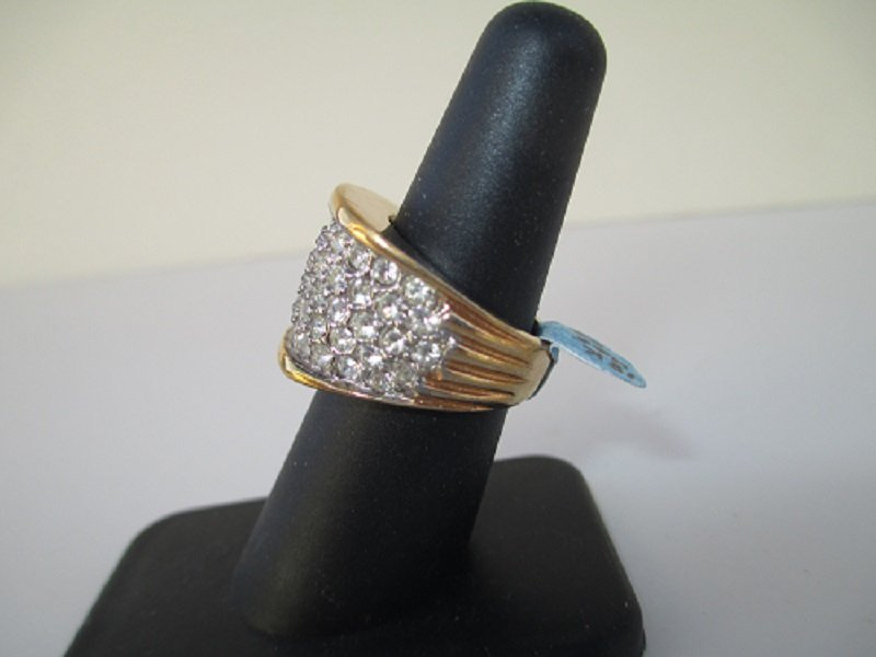 18K HGE with CZs Cocktail Ring, Sz 8, QVC, 1980s