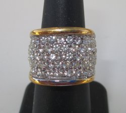 CZ Cocktail Ring From QVC, 18K HGE, Sz 8, 1980s