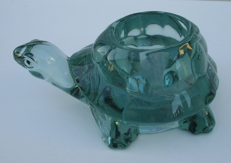 Avon Spanish Green Glass Turtle Candle Holder